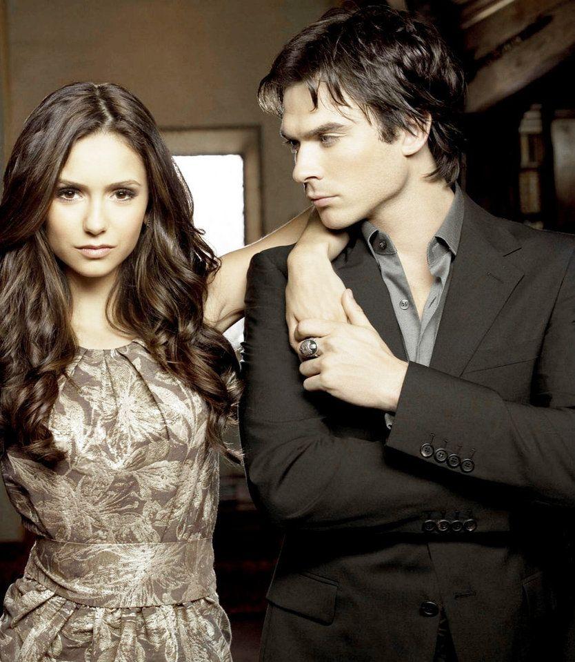 Damon And Elena From The Vampire Diaries Papel De Parede Vampire