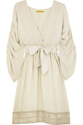 Alice + Olivia Grecian Pleated Dress XS Embellished Cream