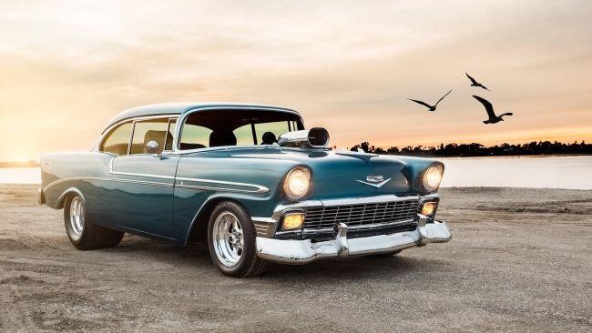 Full Hd Wallpaper Chevrolet Old School Car Beach Chevrolet Bel