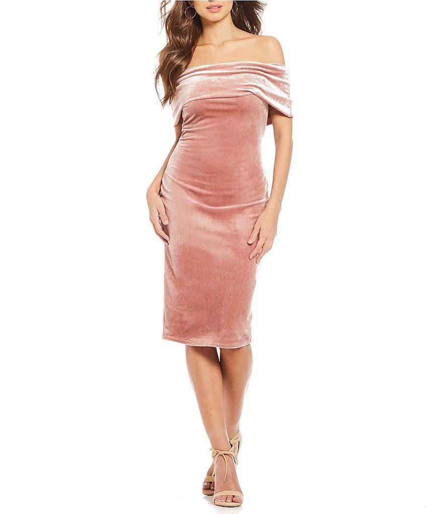 ec12868d977 Gianni Bini Bell Fan Fav Off the Shoulder Velvet Dress