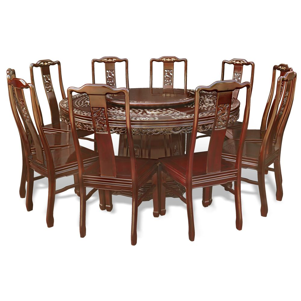 chinese rosewood dining table and chairs hush pod chair 60 in dragon phoenix mother pearl inlay round ornate motif of decoration is hand inlaid throughout the entire cherry finish oriental set