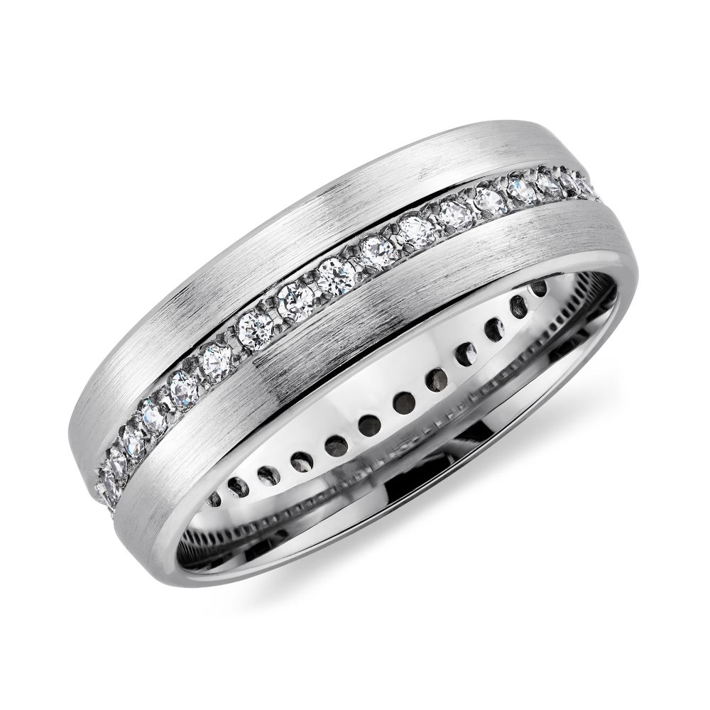 brushed diamond eternity men's wedding ring in platinum | men's