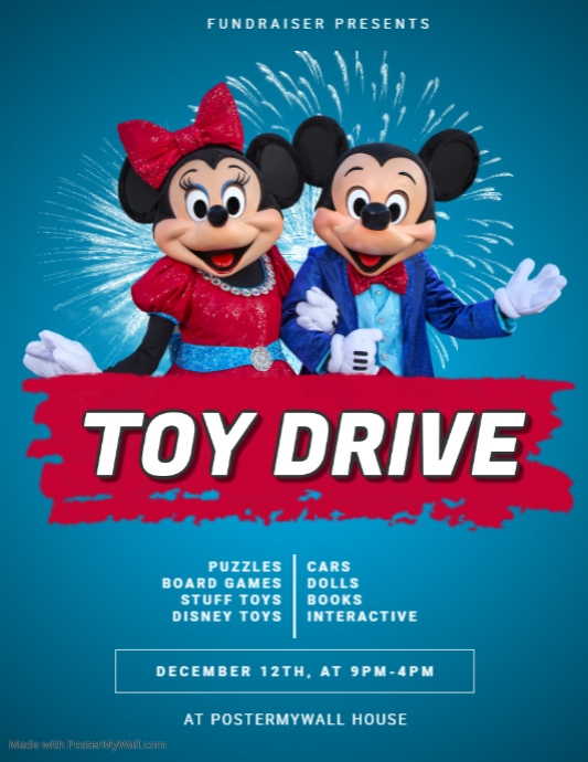 Toy Drive Flyer Template Postermywall Disney Birthday Party Disney Birthday Disney Party