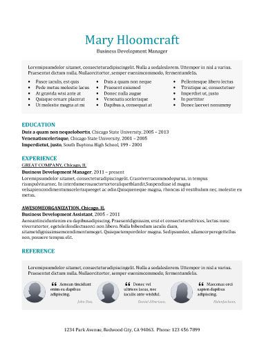 Modern-Testimonials Resume Templates Pinterest Template - business development assistant sample resume