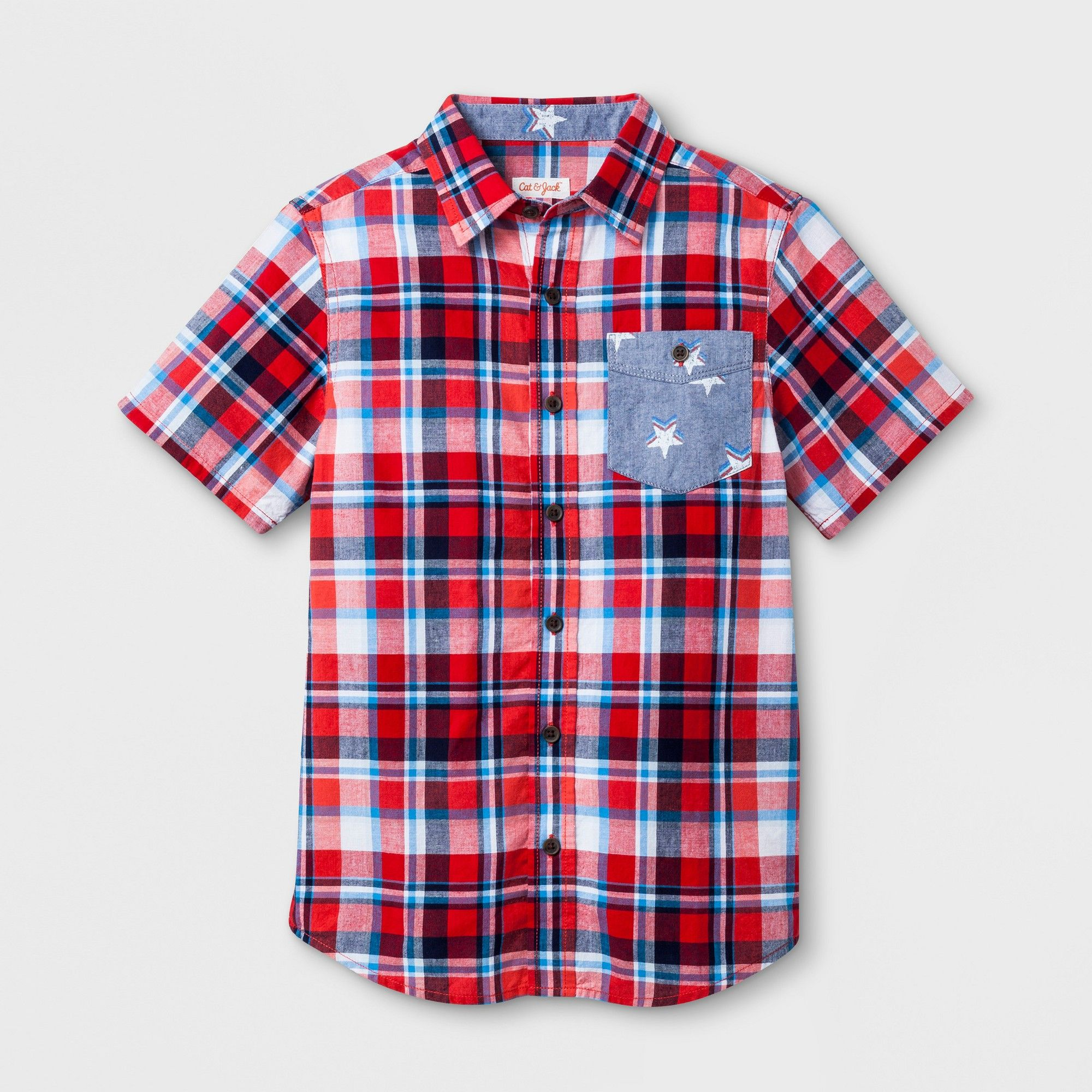 ad0272b8 Boys' Short Sleeve Button-Down Shirt - Cat & Jack Red/White/Blue XS, Pink