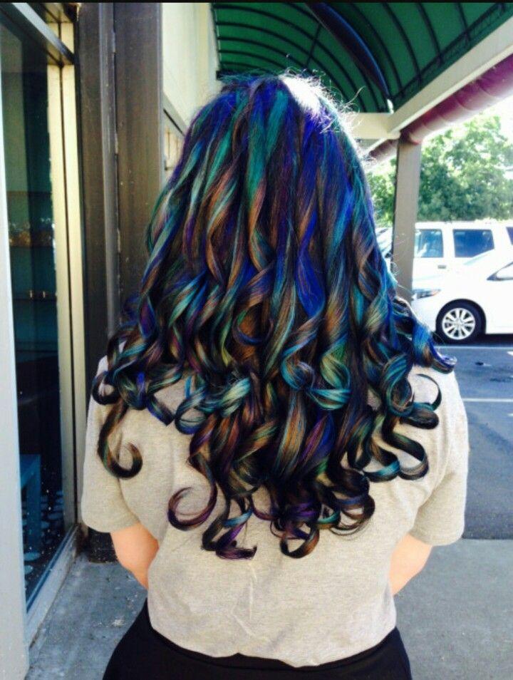 Oil Slick Style Color Hair Pinterest Oil Slick Hair Slicked