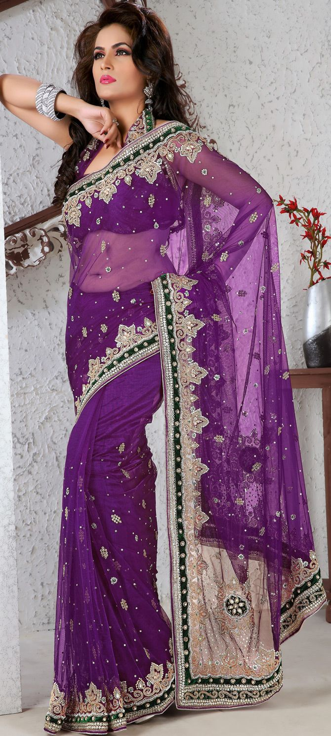 Net saree images purple embroidered net saree with blouse     embroidered