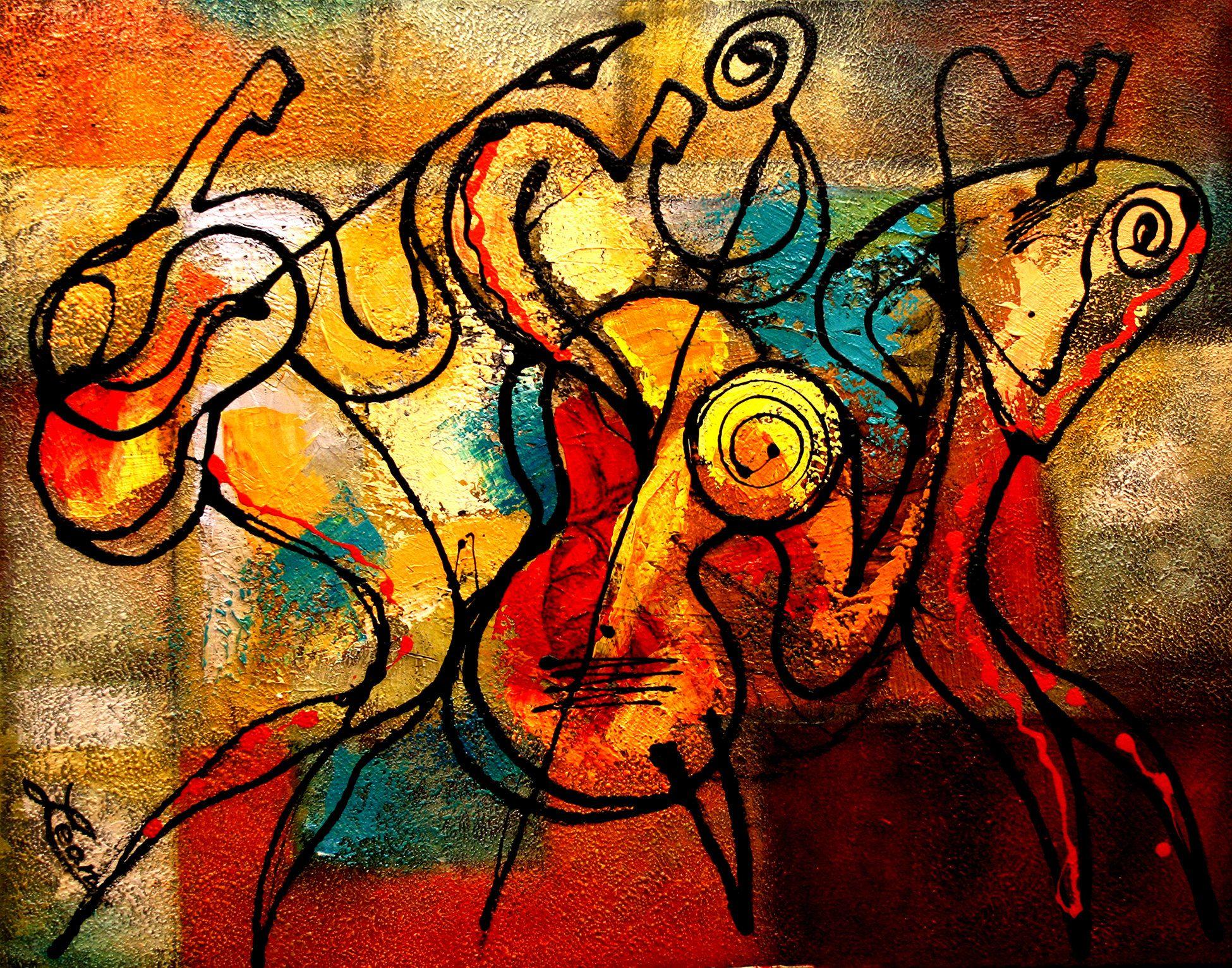Stretched Canvas Art Contemporary Decorative Jazz Klezmer
