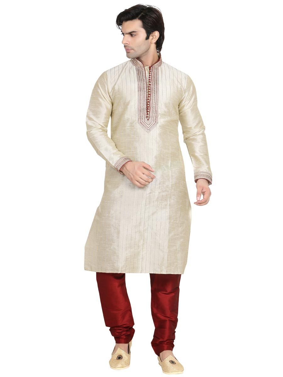 Regal touch off white color dupion silk kurta is ornamented