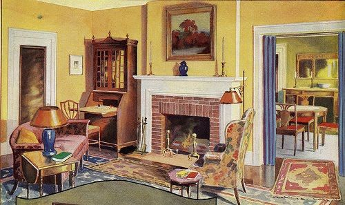 Decorating Tennis Girl: 1930u0027s Living Room Layout And Scattered Rugs Look  Great. Part 63
