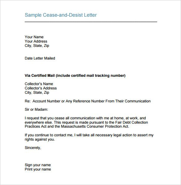 cease and desist letter template free sample example format ceast - cease and desist sample letter