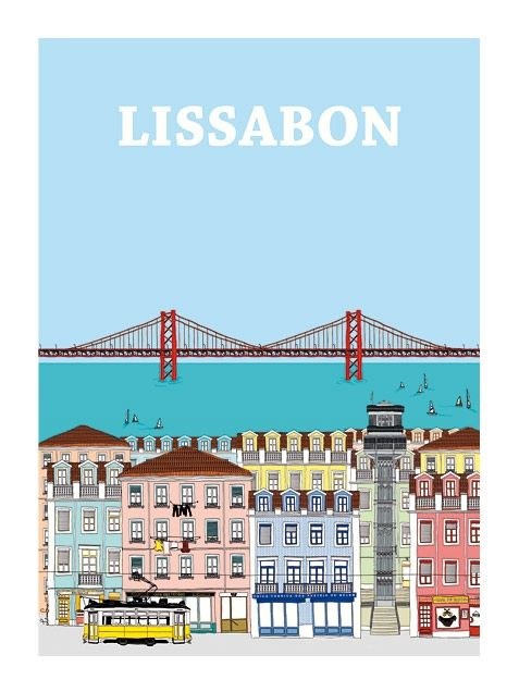 lissabon poster by liliana graca via human empire shop map travel illustration pinterest. Black Bedroom Furniture Sets. Home Design Ideas
