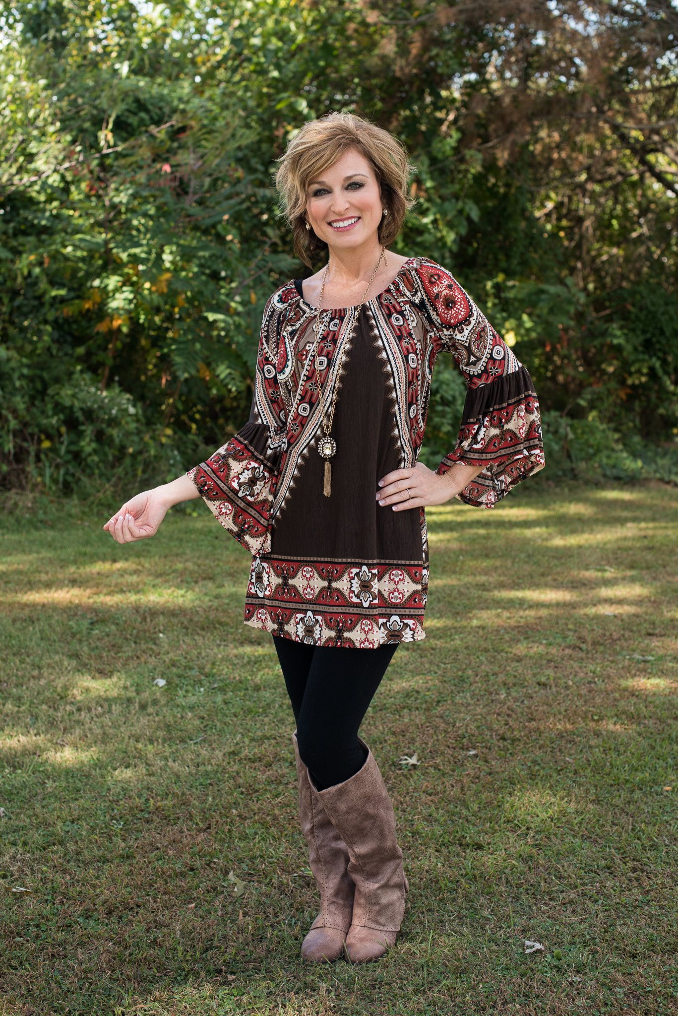 southern belle tunic - brown multi