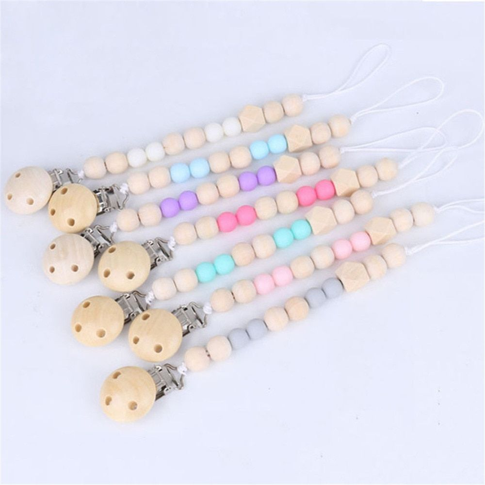 Cute Baby Personalized Wooden Bead Pacifier Soother Dummy Clip Holder 1pc ~ Boys