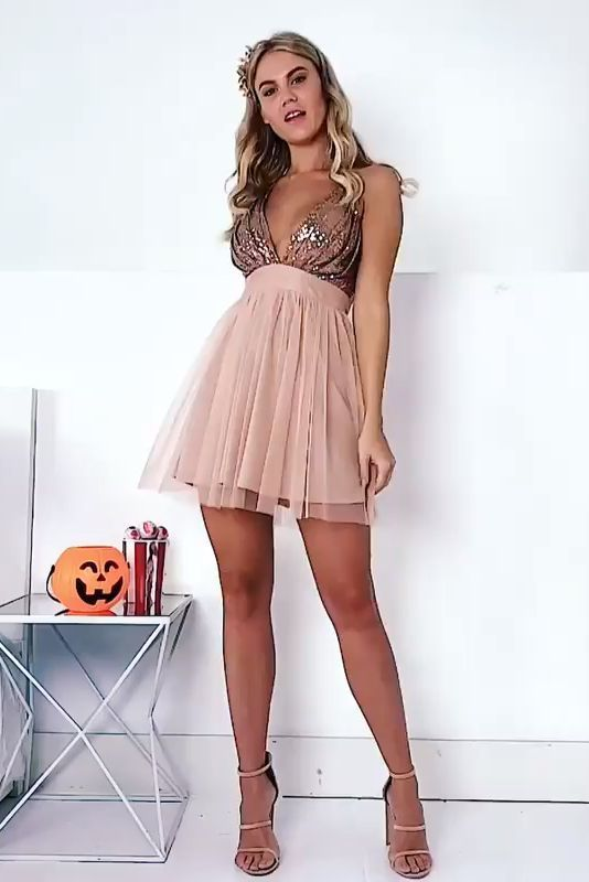 Photo of V-neck Empire Waist Short A-line Pink Simple Cute Homecoming Dresses   , CR 411