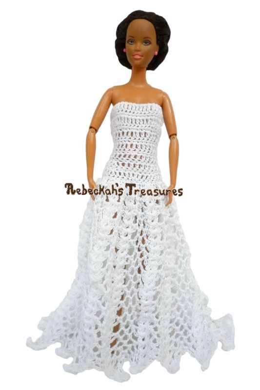 Straight-Across, Strapless A-Line Barbie Wedding Dress with a Train ...