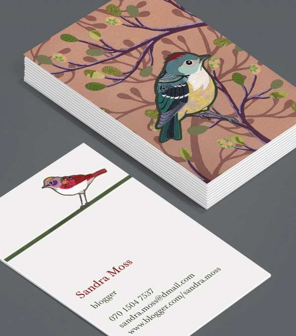 Chelsea Groves Business Cards Featuring Elegant Birds Designed