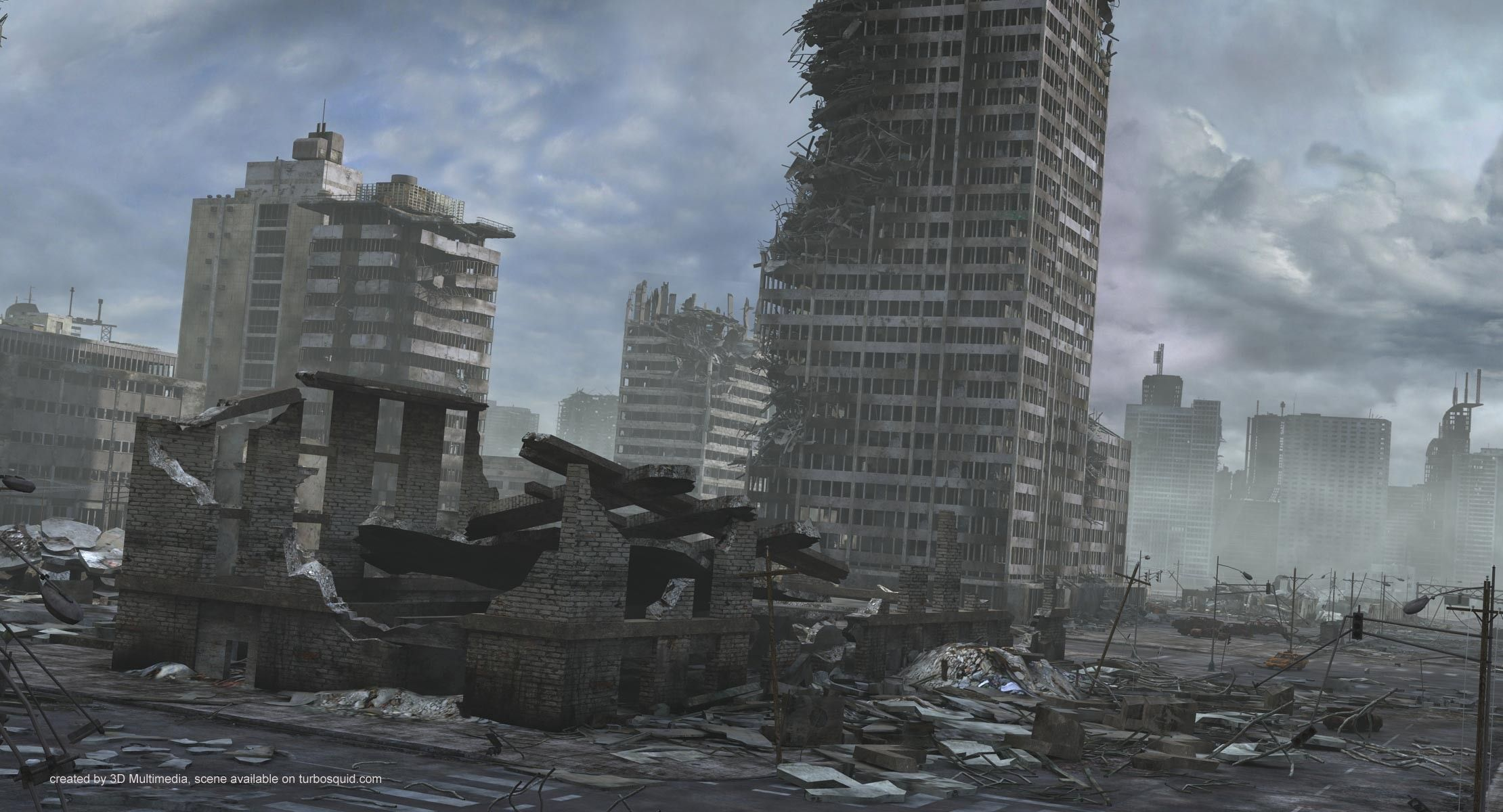 Ruined City Destroyed Buildings 3d Model Ruined City Abandoned City Ruins City