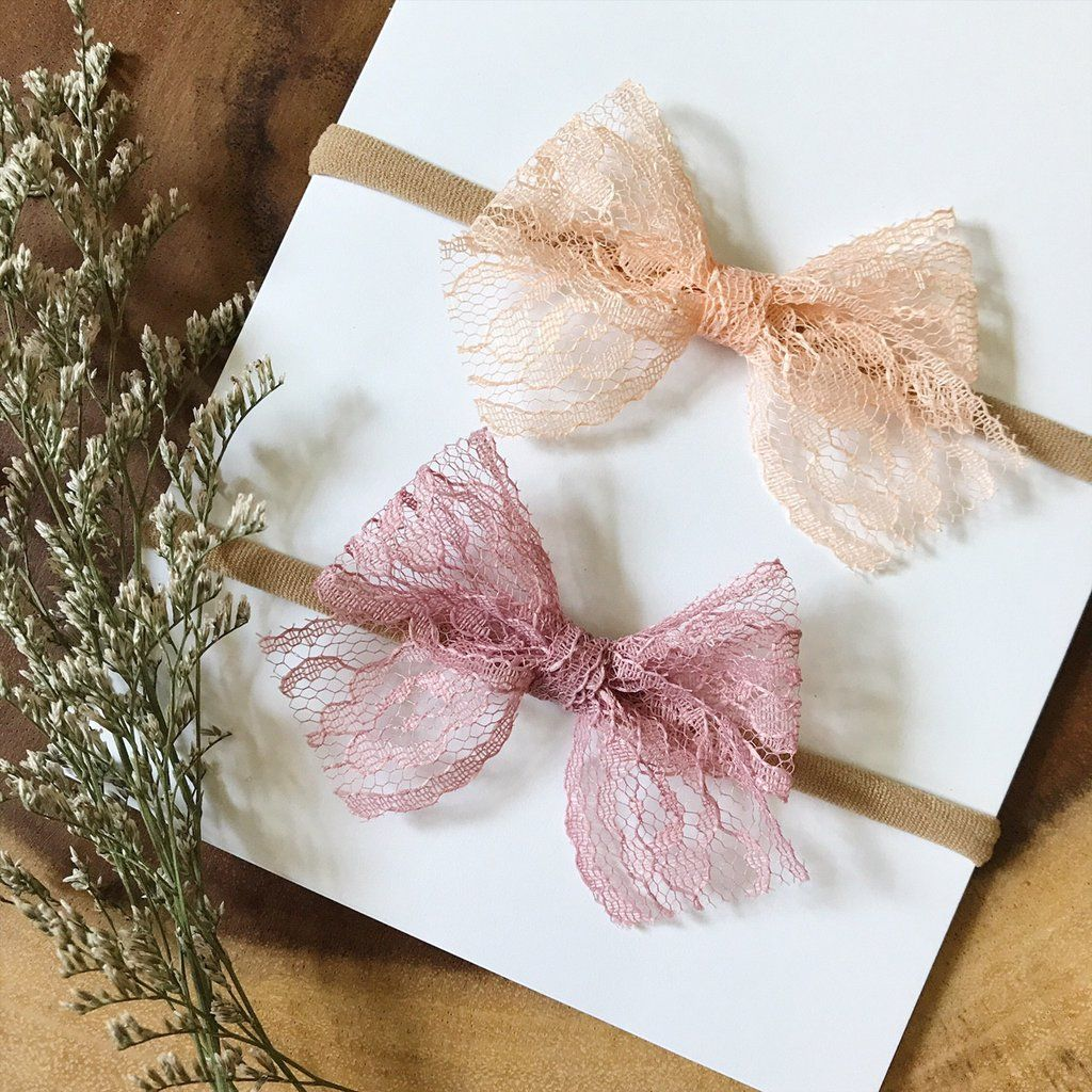 8c2034867a5b2 Apricot and Mauve Lace | Ever Iris Designs | Diy baby headbands ...