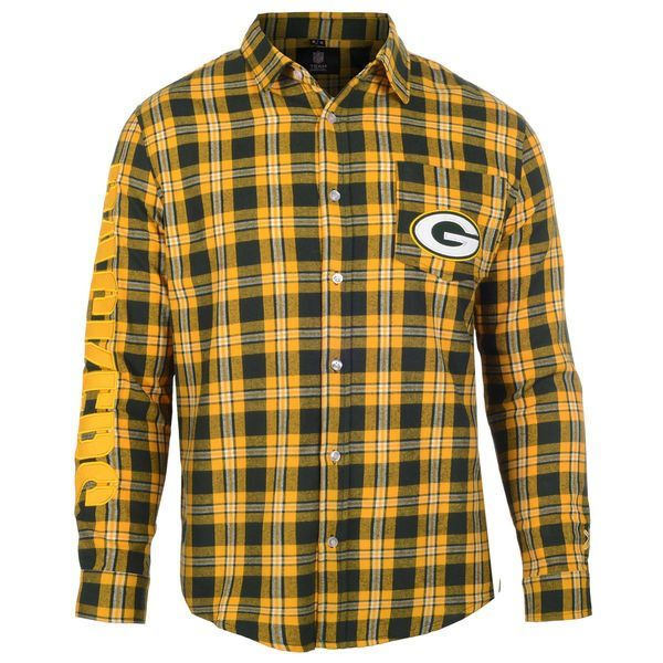 Men's Green Bay Packers NFL Klew Green/Gold Wordmark Flannel Button-Up Long Sleeve T-Shirt
