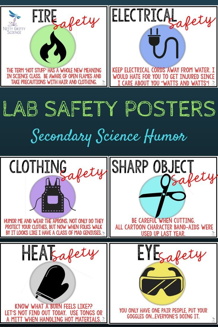 LAB SAFETY POSTERS - Secondary Science (humor) | High School Science ...