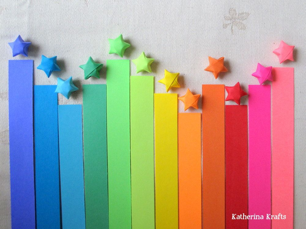 Origami Lucky Stars Paper Strips, 100 count, Rainbow Multicolor. $3.50, via Etsy.