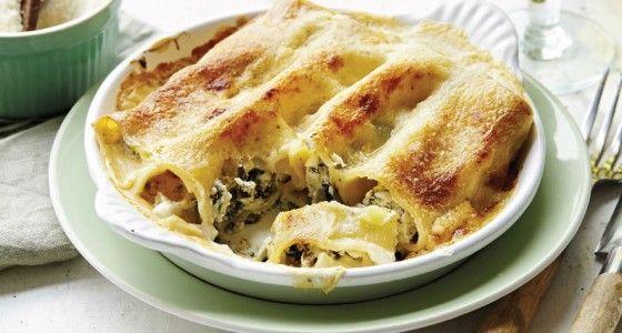 Cannelloni met spekjes, spinazie en ricotta