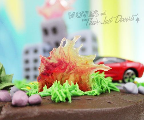 earthquake cake close up with fire