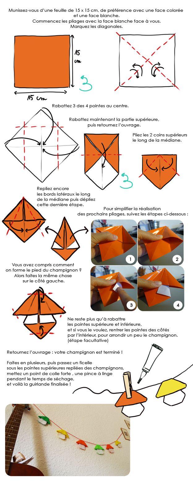 diy enfants une guirlande de champignons origami pour d corer la chambre origami and diy origami. Black Bedroom Furniture Sets. Home Design Ideas