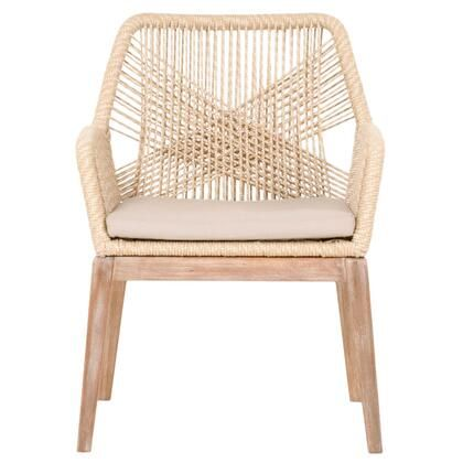 BM185201 Intricate Rope Weave Design Arm Chair With One Loose Cushion  Set Of
