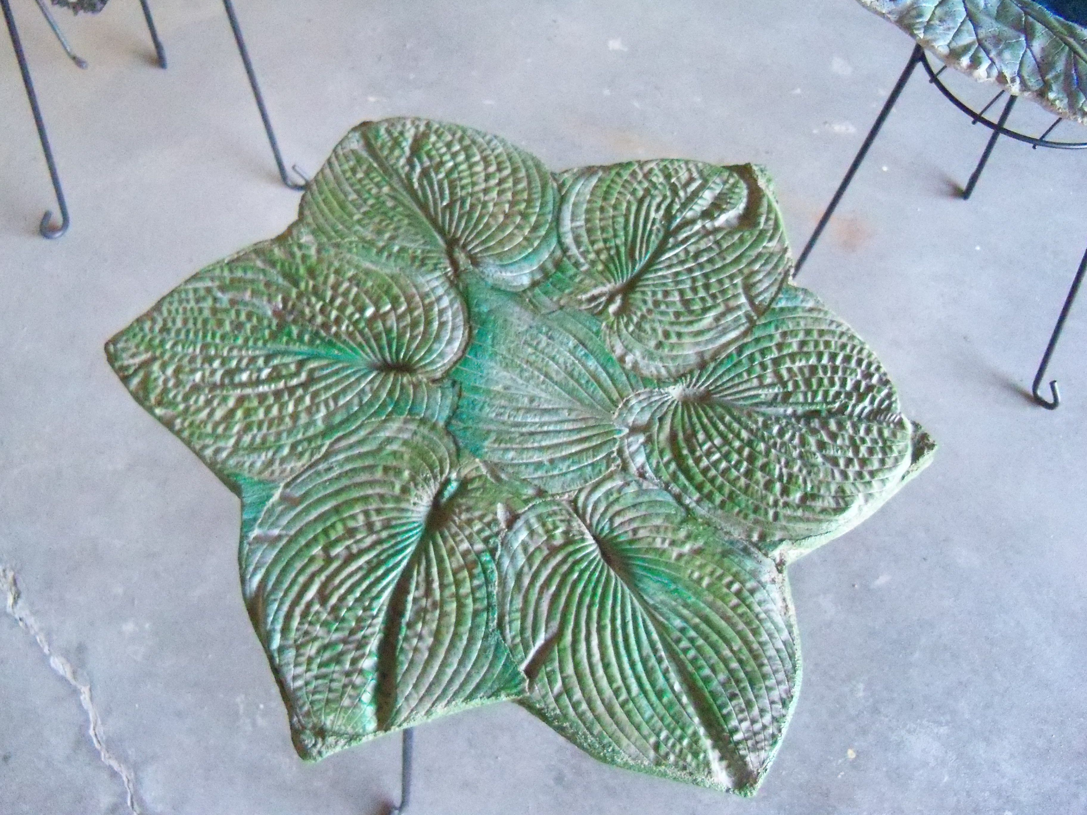 Small Cement Table Top Using Hosta Leaf And Painted In Greens Cement Leaf Casting Cement Leaves Concrete Leaves