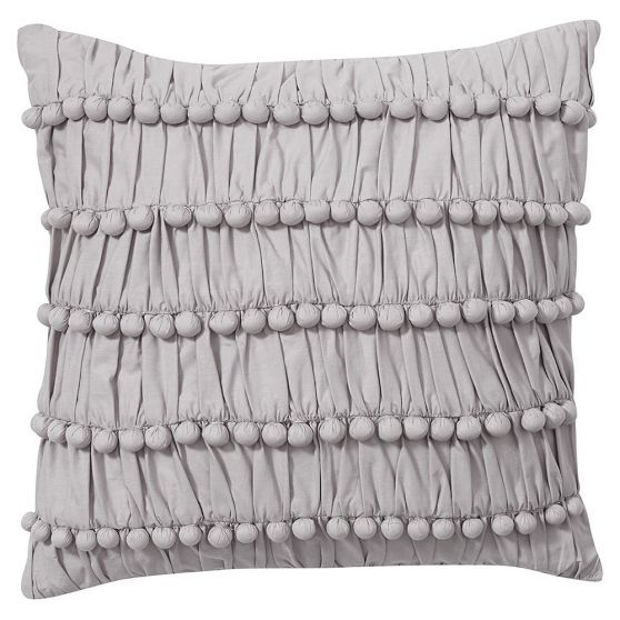 Pretty Poms Pillow Cover Pillow Covers Pillows Grey Bedding