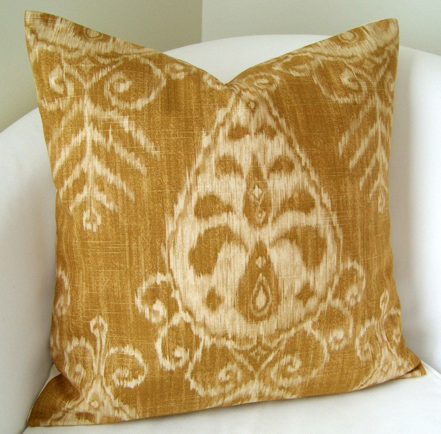Decorative Throw Pillow Cover Gold Ikat Pillow 17x17 Inch Accent ...