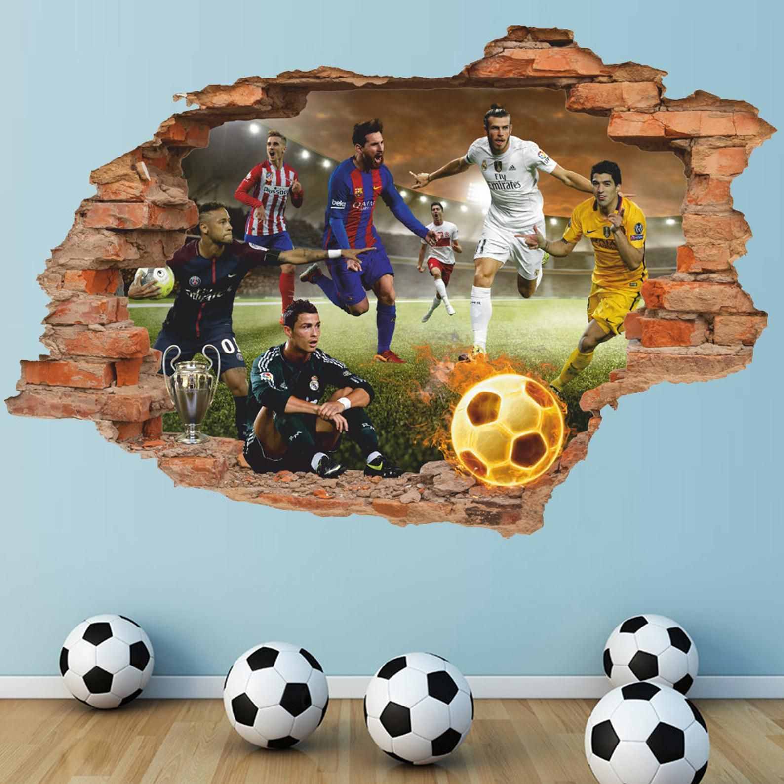 3D Football PVC Wall Sticker Living Room Bedroom Removable Decal Home Decor #ZZH