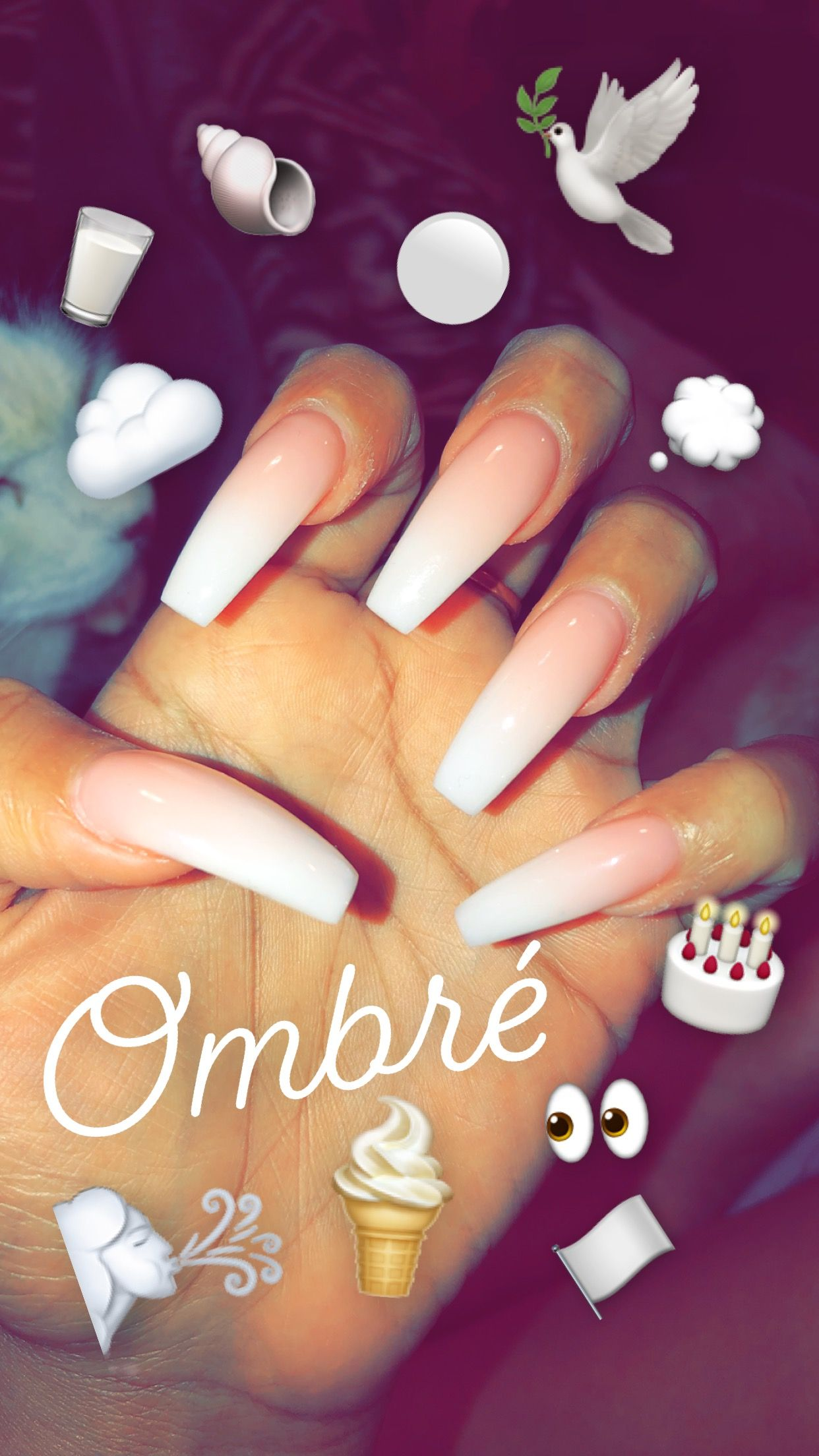 Natural Pink To Soft White Ombre Coffin Acrylic Nails Ombre