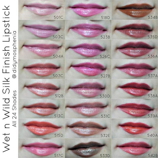 Amanda D On Instagram Here Are Lip Swatches Of All Of The Wet N Wild Silk Finish Lipsticks They Wet N Wild Lipstick Swatches Lip Swatches Wet N Wild Makeup