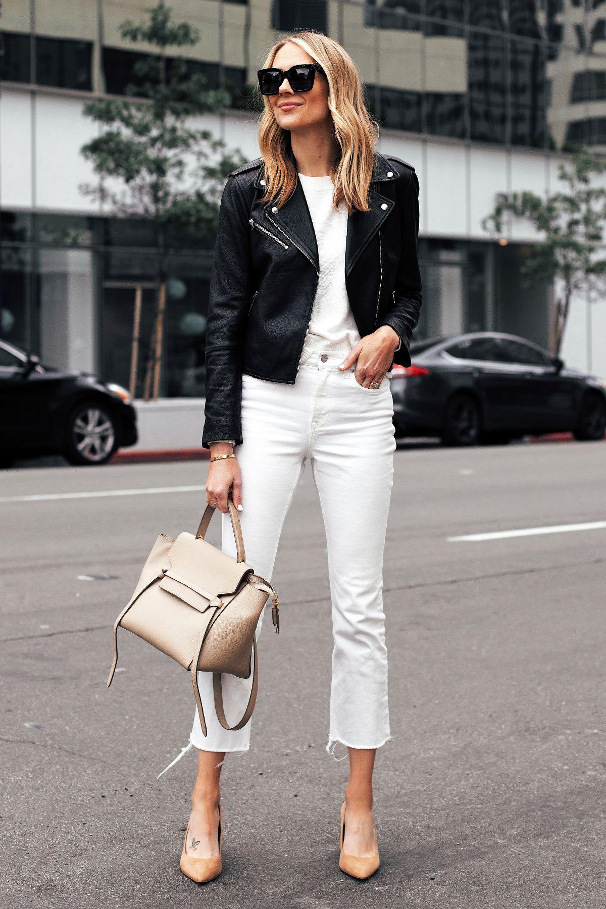 2427e28c0a6 Fashion Jackson Capsule Wardrobe Wearing Club Monaco Black Leather Jacket  White Sweater Everlane White Cropped Jeans