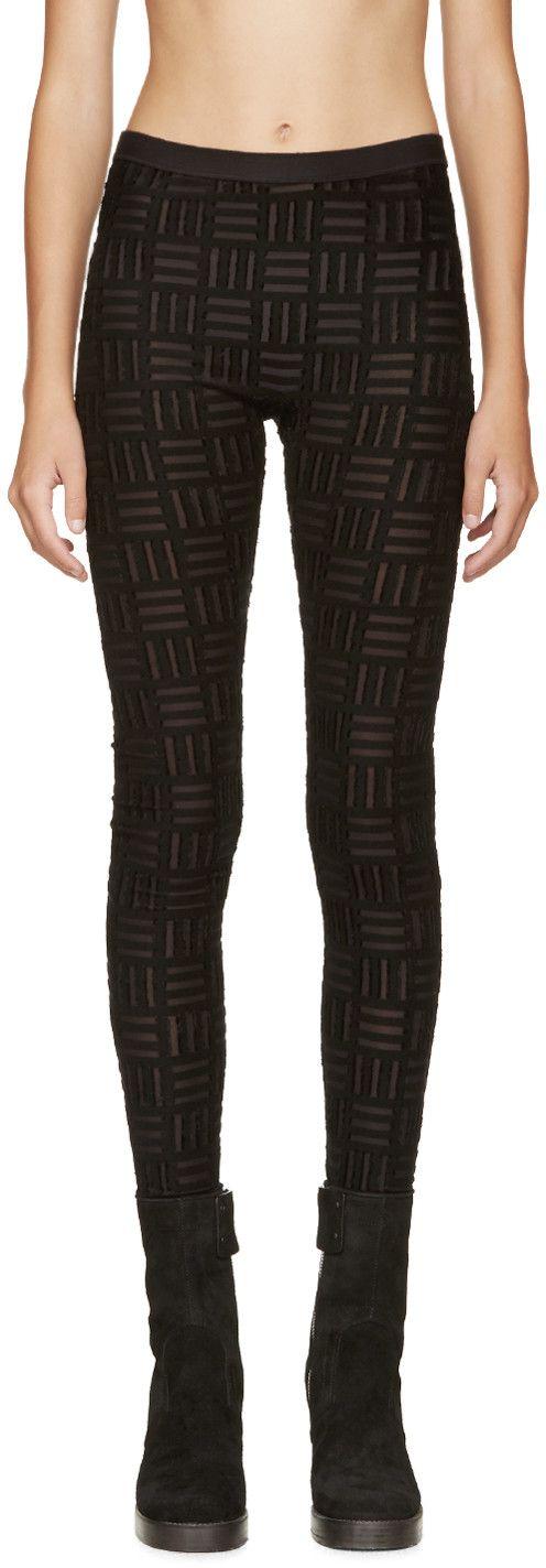 GARETH PUGH Black Sheer & Flocked Leggings. #garethpugh #cloth #leggings