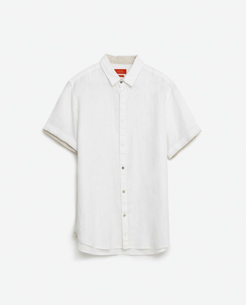 9860b7d2319 ZARA MAN WHITE 100% LINEN SHIRT WITH CONTRAST DETAIL SHORT SLEEVE SIZE SMALL