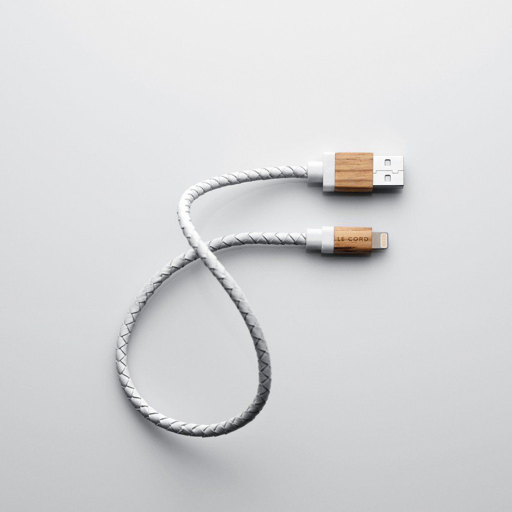 Le Cord WHITE LEATHER / LIGHT WOOD charging cable wrapped in textile