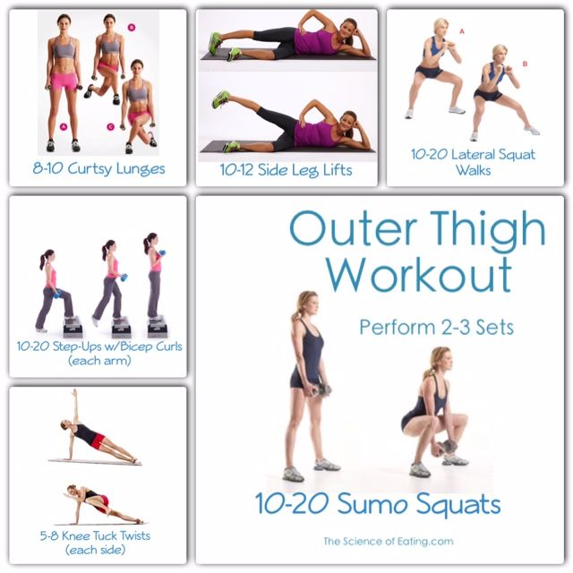 Workout outer thigh health fitness pinterest