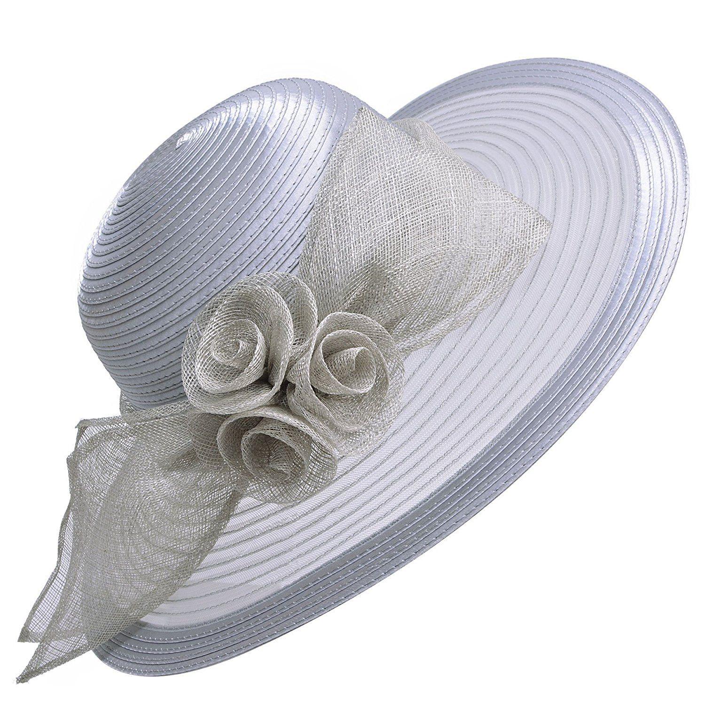 Lawliet Womens Wedding Church Kentucky Derby Wide Brim Sun Formal Royal  Ascot Hat (Grey)  Amazon.co.uk  Clothing 92588d07f53