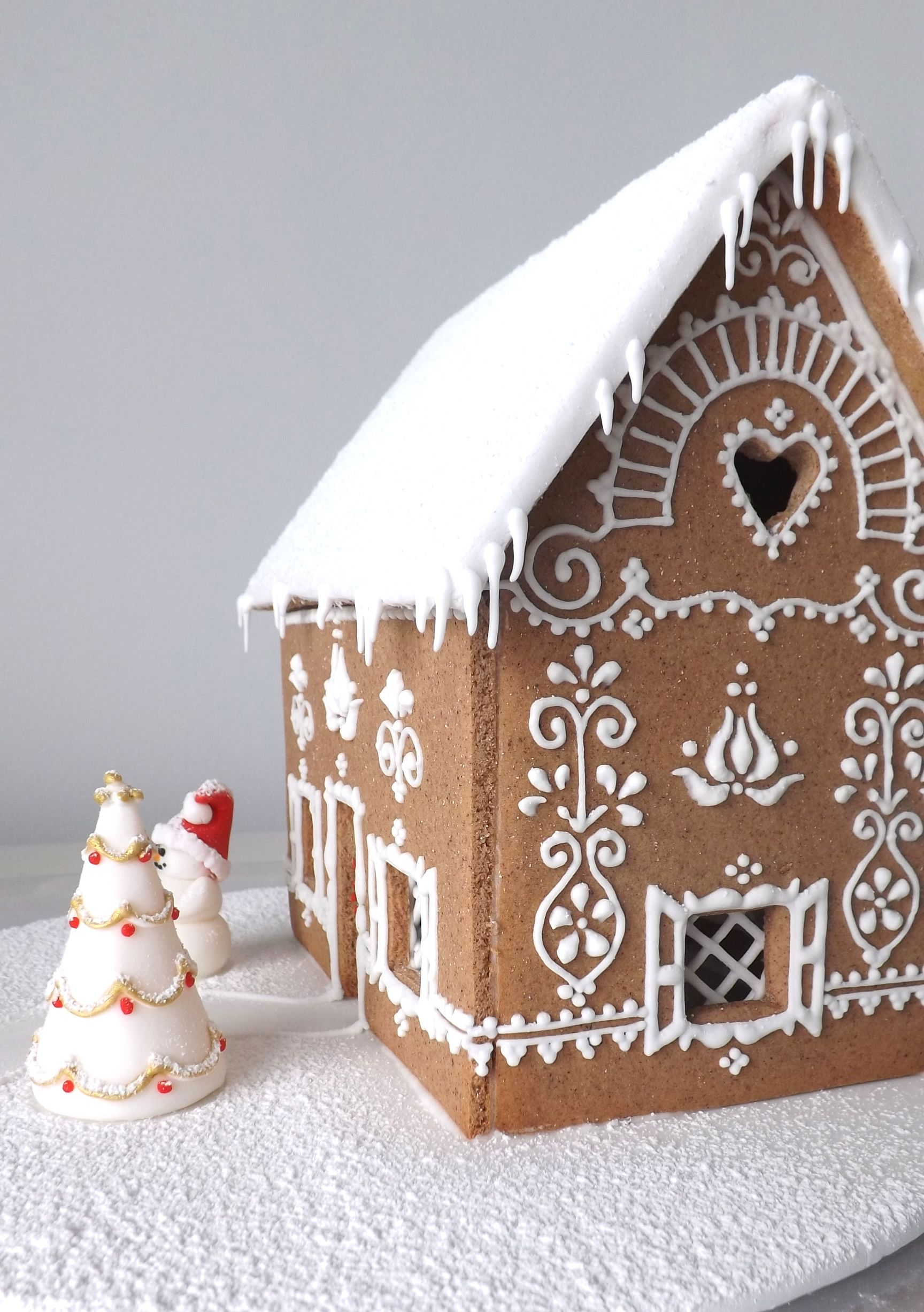 Hungarian gingerbread house for Christmas with icing decoration