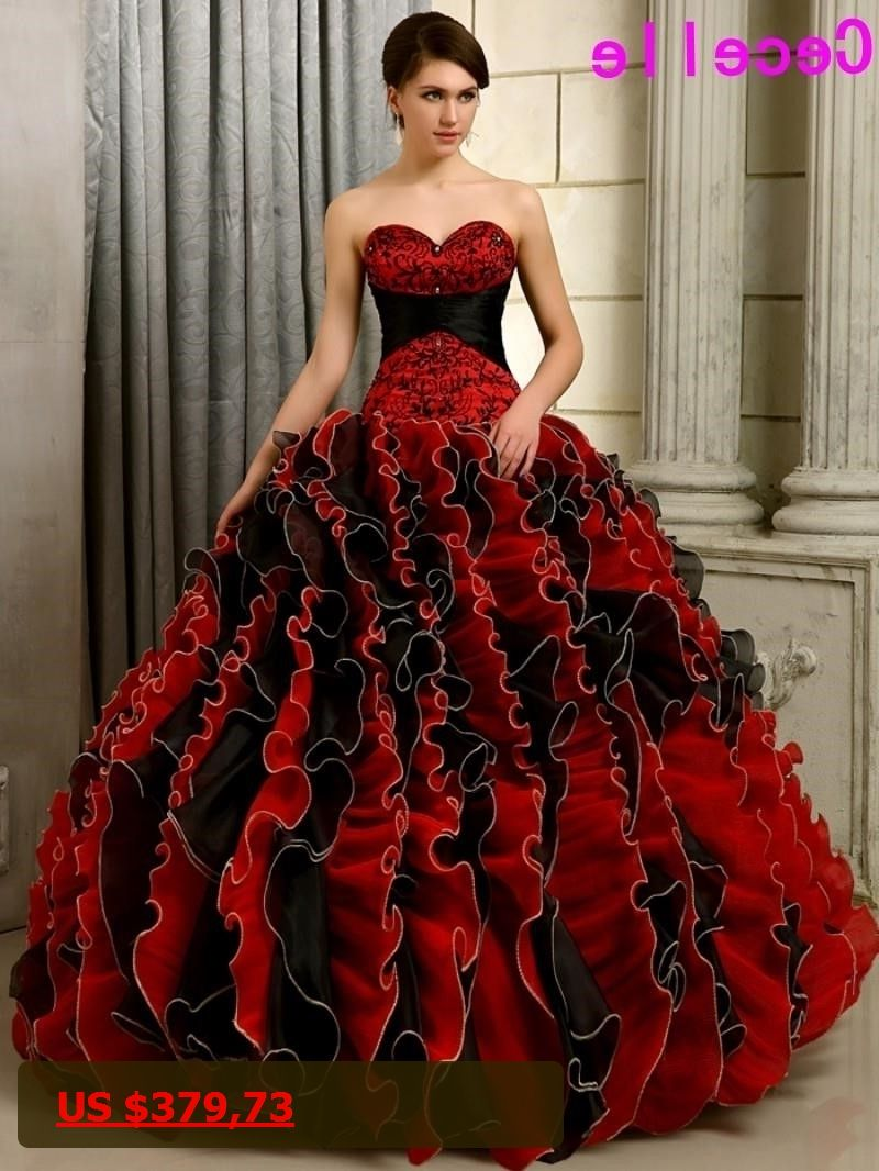 black and red gothic wedding dresses ball gown colorful