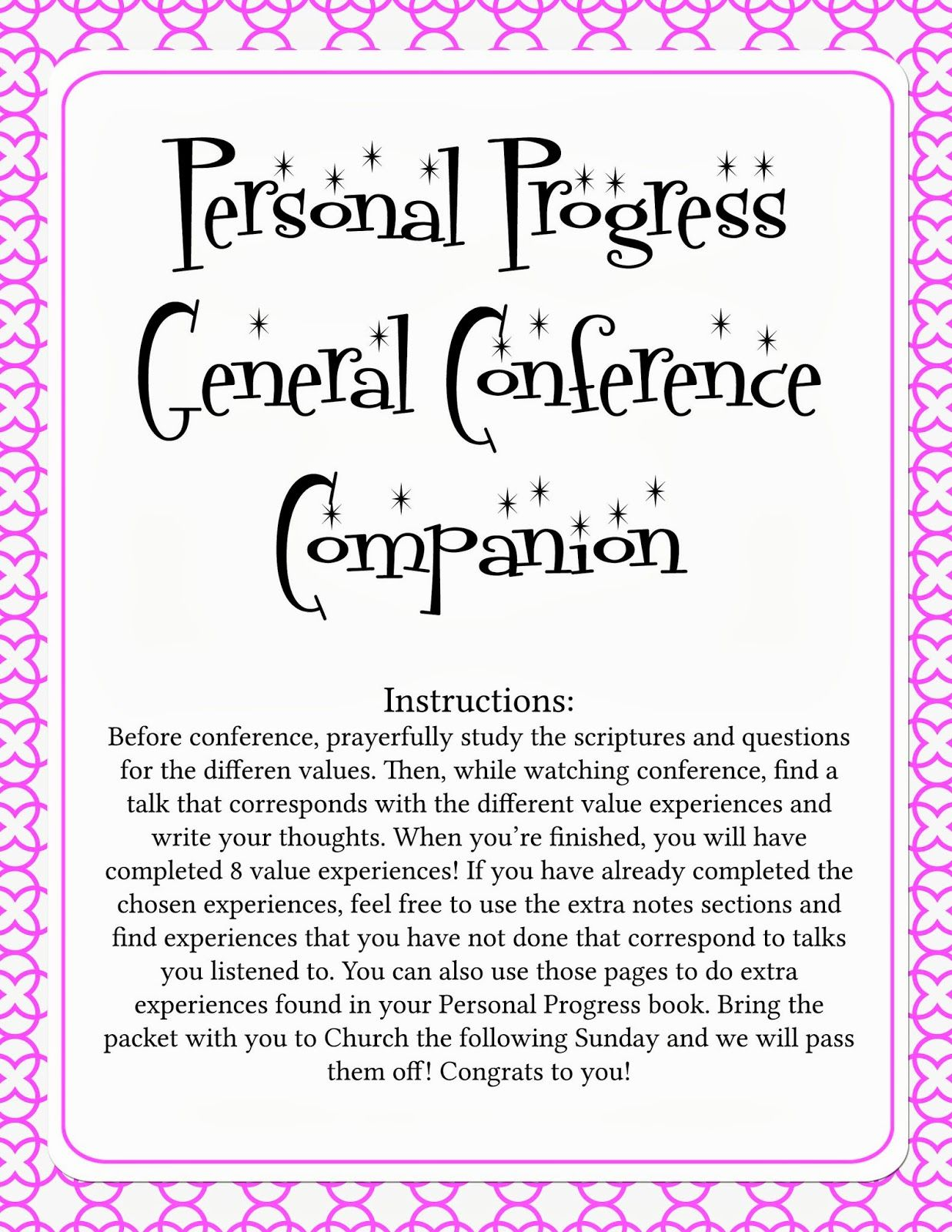 Personal Progress General Conference Packet en 2018 | lds - yw ...