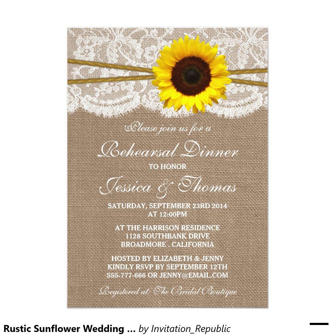 Rustic Sunflower Wedding Rehearsal Dinner Invitation