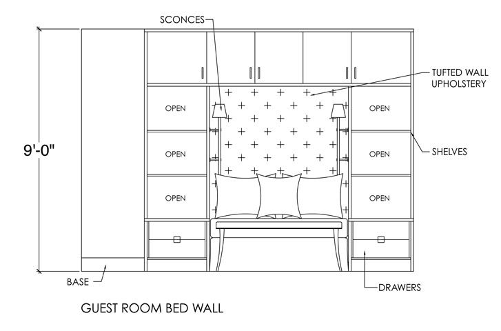 Master Bedroom Bed Elevation Interior Sections
