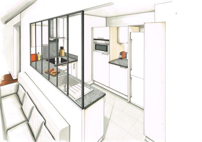 Dessin Realise Aux Feutres D Une Cuisine Contemporaine Facades Blanc Casse Plan De Travail Stratifie Beton Ci Cuisine Contemporaine Deco Salon Bricolage Deco