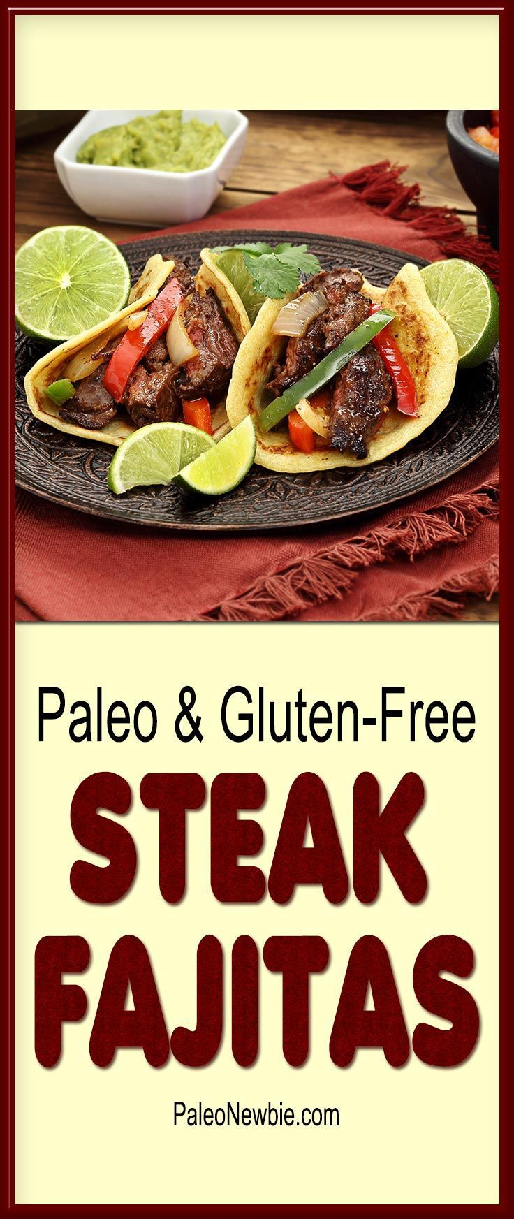 Steak Fajitas with Paleo Tortillas Happy Cinco de Mayo everyone! You'll love this hearty and ... #steakfajitarecipe