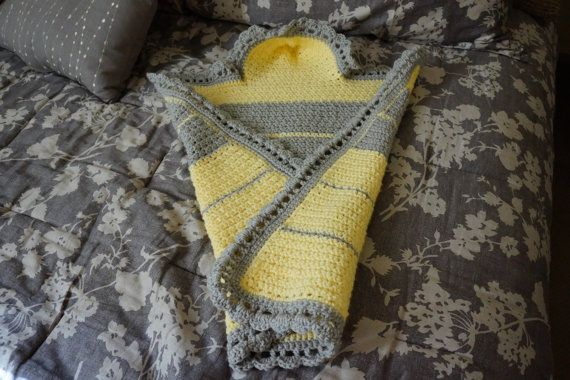 BABY RECEIVING BLANKET Crochet with hood light Gray and Baby Yellow on Etsy, $20.00